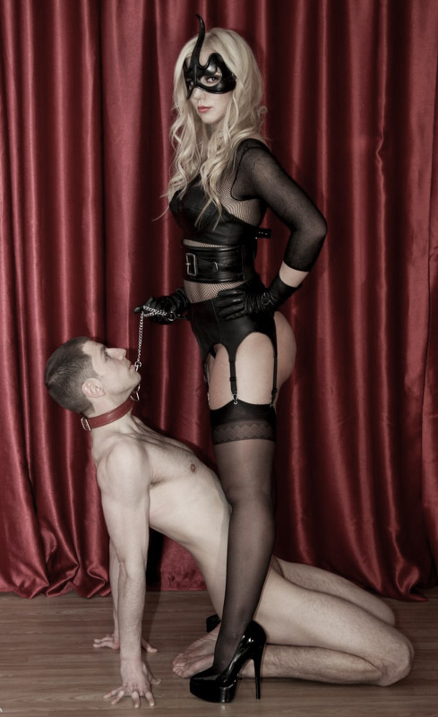 stockings and suspender mistress with slave