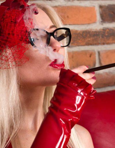 blonde smoking dominatrix